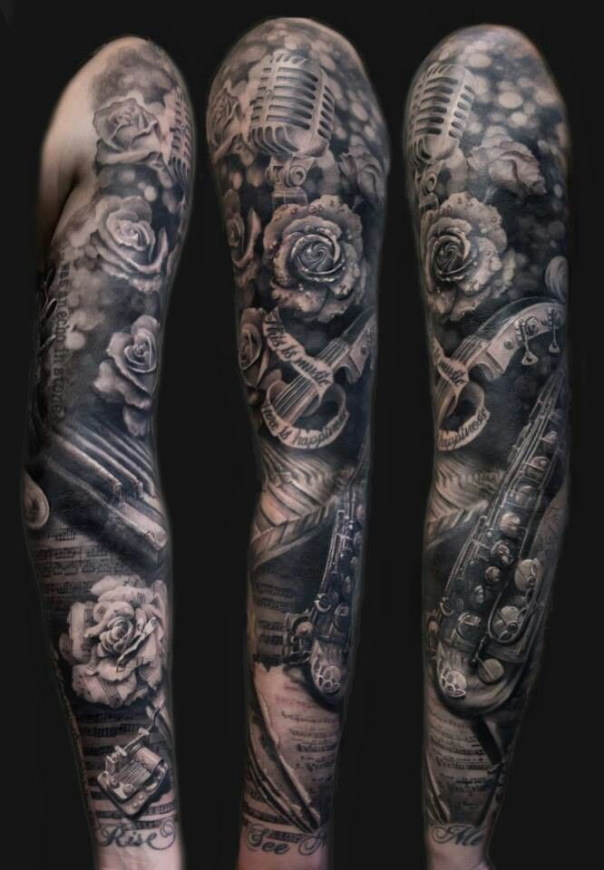 Music Inspired Sleeve Tattoo Kozboards Tattoos Sleeve Tattoos