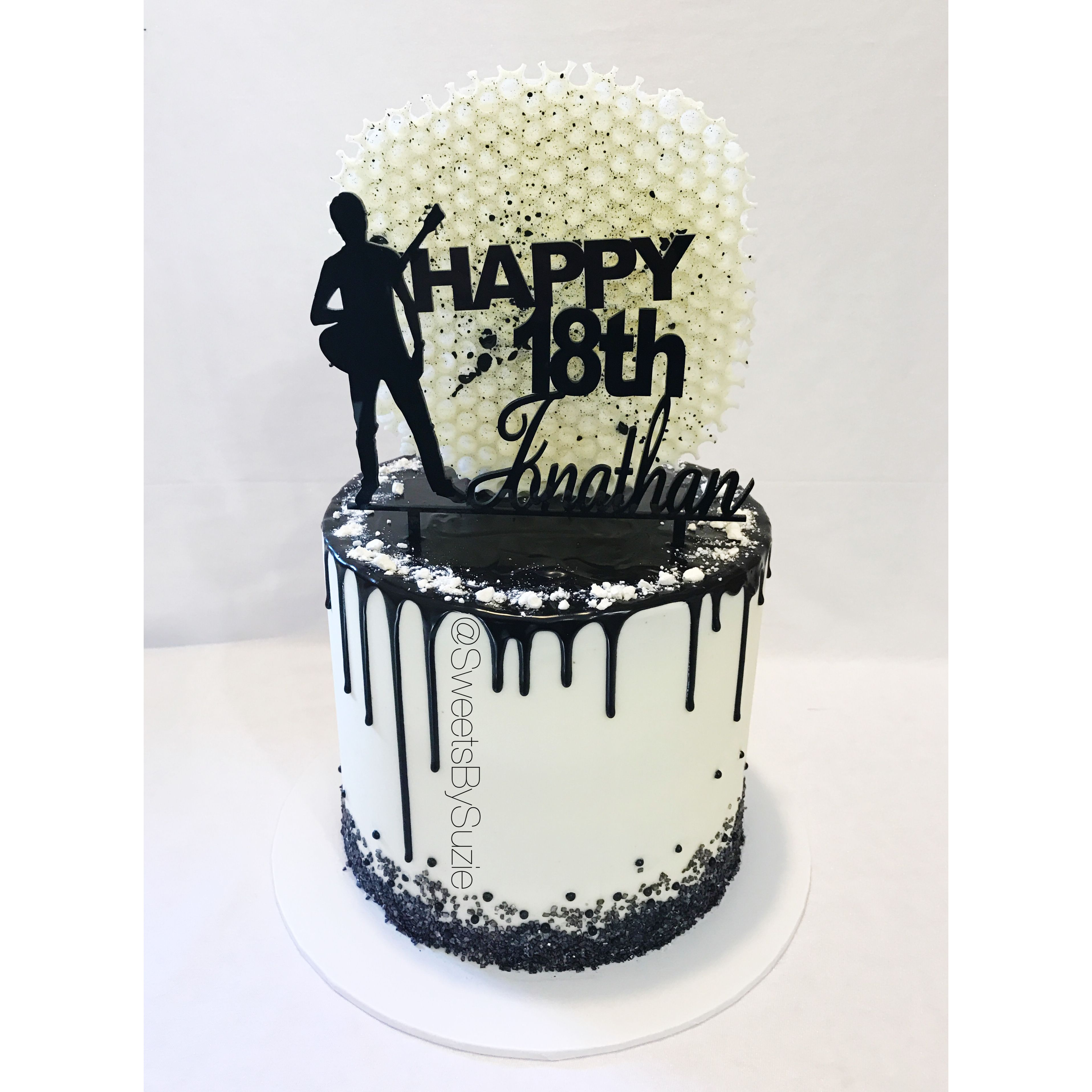 Black Drip 18th Birthday Cake Made By SweetsBySuzie In