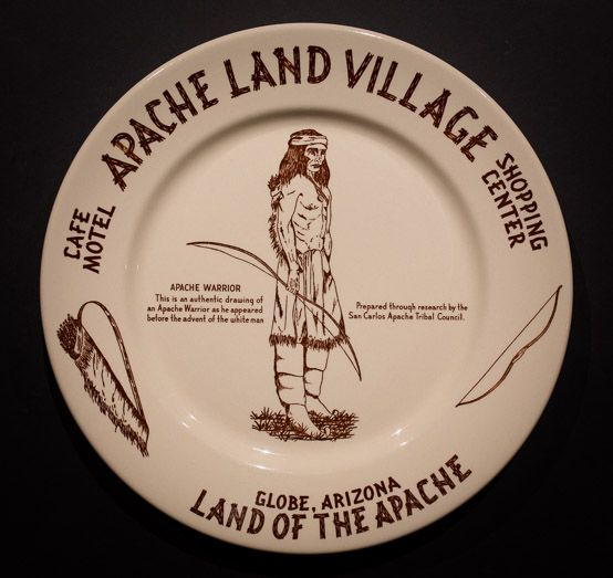 """Apache Land Village Café, Motel and Shopping Center, Globe, Arizona. Made by Wallace China in 1954 & 1955. 11.5"""" Dinner Plate. Offered by Track 16. http://www.track16.com #restaurantware #restaurantchina"""