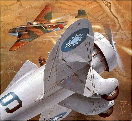 Chinese (Nationalists) Boeing 281 attack Mitsubishi G3M2. Painting by Jaosław…