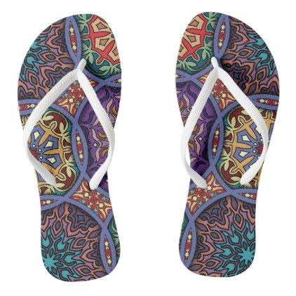 #Vintage patchwork with floral mandala elements flip flops - #womens #shoes #womensshoes #custom #cool