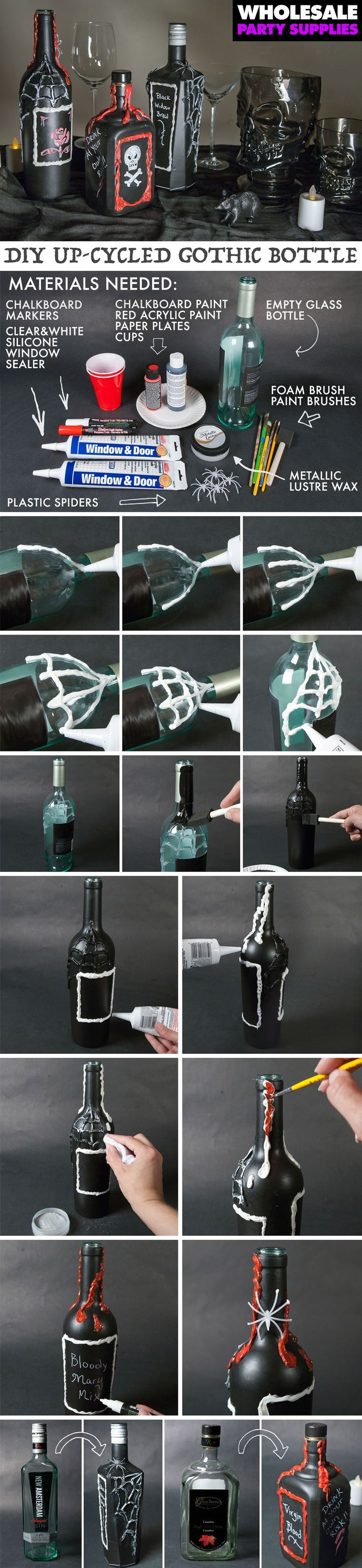 Photo of DIY Gothic Bottle Decorations