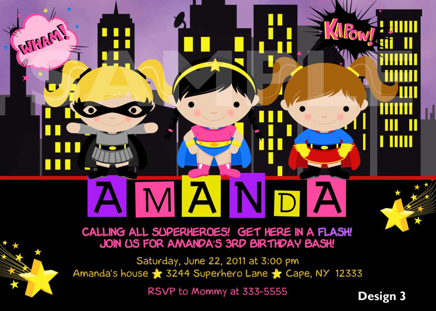 Custom Personalized Girl Superhero Superfriends By Theprintfairy 1199 Birthday Party