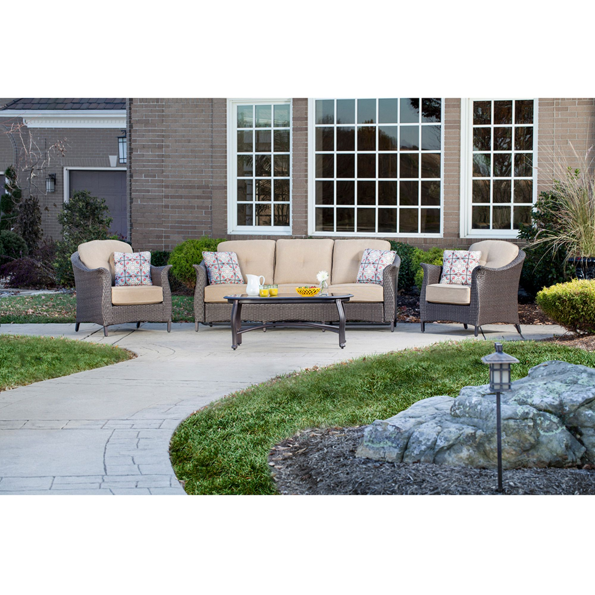 7cc80576527e Better Homes and Gardens Colebrook 4-Piece Outdoor Conversation Set, Seats  5 - Walmart.com