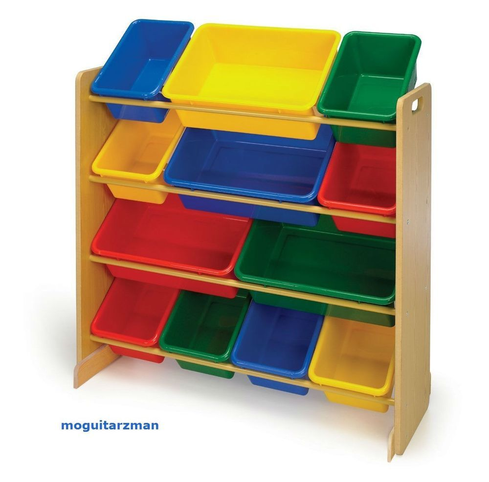 Kids Toy Organizer Wood Furniture Tot Tutors Storage Bins Primary Colors  sc 1 st  Pinterest & Kids Toy Organizer Wood Furniture Tot Tutors Storage Bins Primary ...
