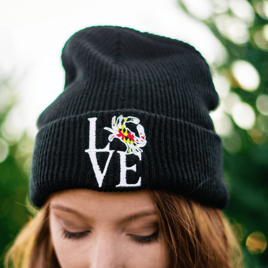 6735e63ec45 Maryland Crabby Love (Black)   Slouchy Knit Beanie Cap  Beanies-+-Ski-Hats   bulk-hide
