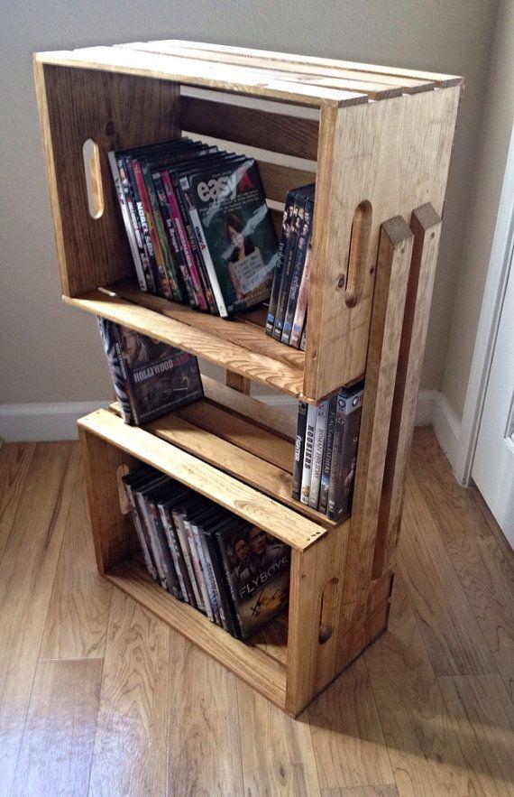 Light brown wooden crate shelf bookcase shelving floor