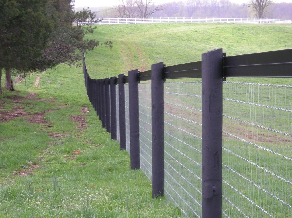 Woven wire horse fence with rail horses pinterest