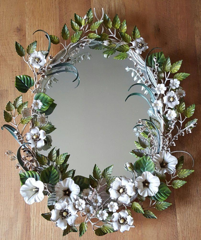 Vintage Mid Century wall mirror Italian toleware enameled