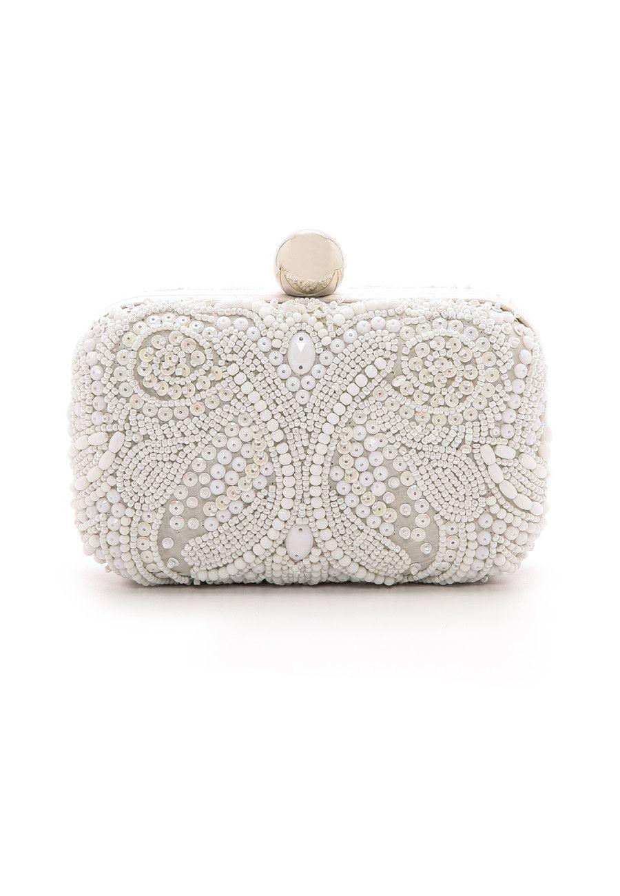Wedluxe Loves Embroidered Handbag Box Clutch Beaded Handbag