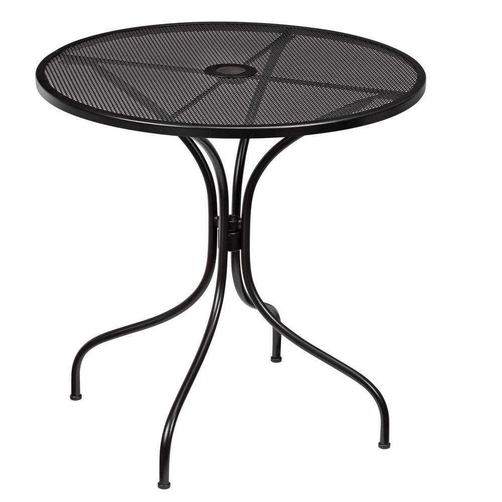 Hampton Bay Nantucket Round Metal Outdoor Bistro Table Umbrella Hole