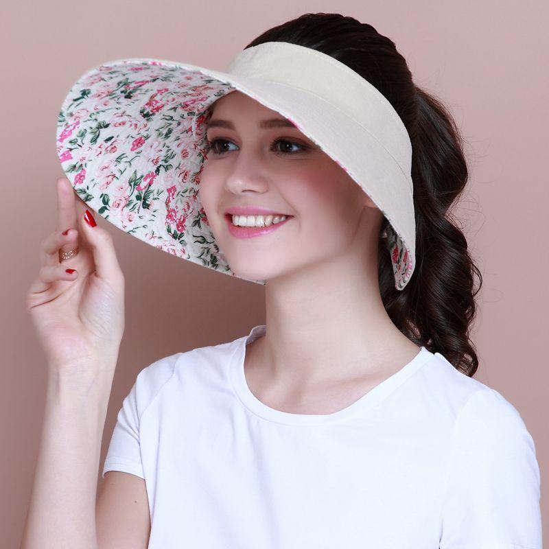 Linen Plain Sun Visor Hat For Women Summer Uv Wide Brim
