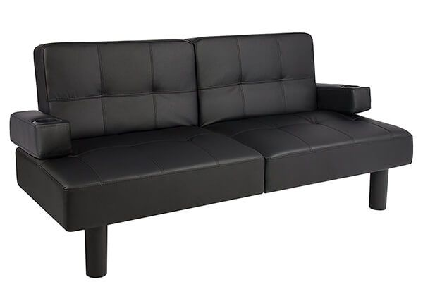 Leather Faux Fold Down Futon Lounge