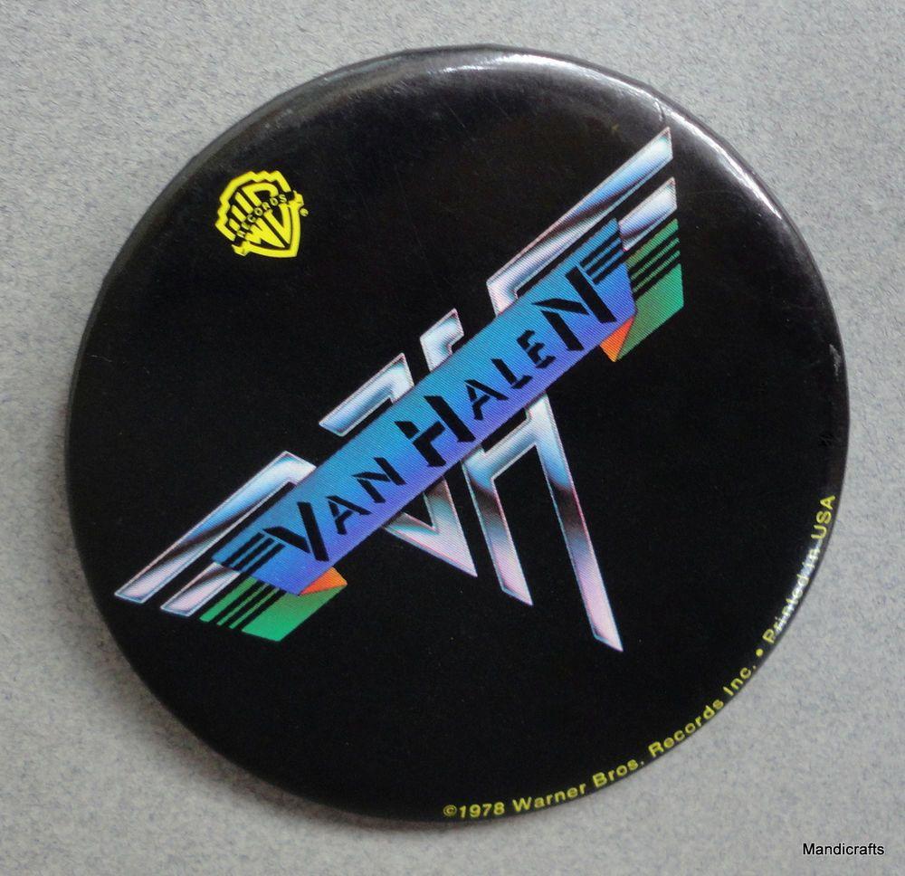 Van Halen Pin Back Button Vintage 1978 Hard Rock Warner
