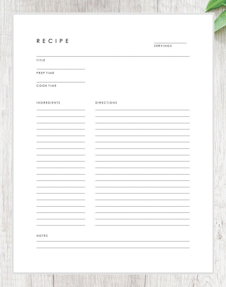 Minimalist Recipe Card Downloadable Recipe Template Printable Recipe Page Recipe Book Template Recipe Book Templates Recipe Book Diy Printable Recipe Page