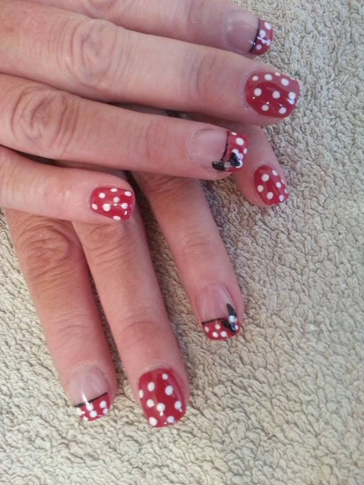 Minnie Mouse Acrylic Nail Extensions. Disney Acrylic Nails by ...