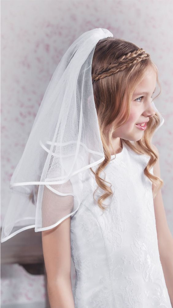 Emmerling 1st Communion Veil - 77168 - BEST SELLER - White Satin Ribbon Edge First Holy Communion Veil - Plain Simple Girls First Communion Veil