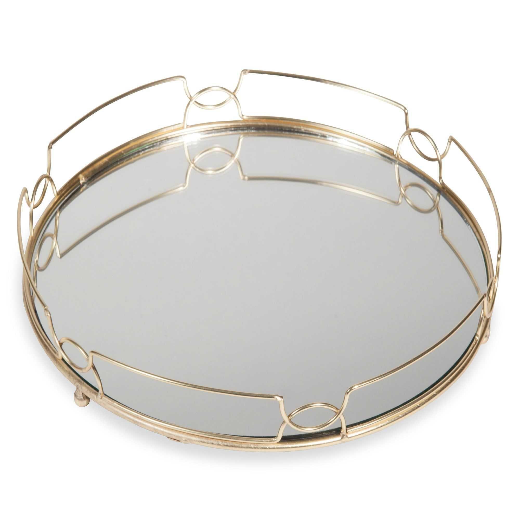 plateau en m tal dor et miroir l gance classic chic pinterest plateau l gance et miroirs. Black Bedroom Furniture Sets. Home Design Ideas