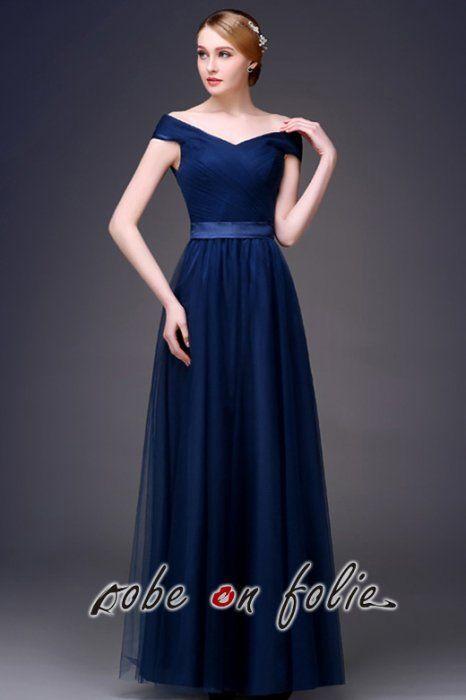cf00790ce88 Très élégante robe de soirée longue en satin et tulle de couleur bleu foncé