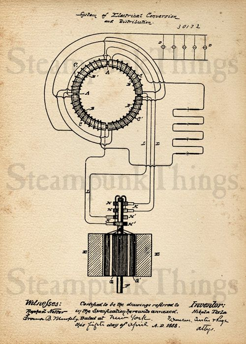 Tesla Transformer Patent Print Steampunk Art Poster Nikola