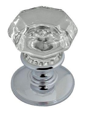 Flower-Octagonal Glass Mortice Door Knobs, Polished Chrome, Satin ...