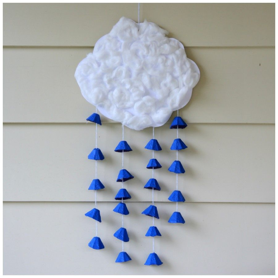 Earth Day Raincloud Mobile Made Of Recycled Materials Crafts From Recycled Materials Earth Day Crafts Weather Crafts