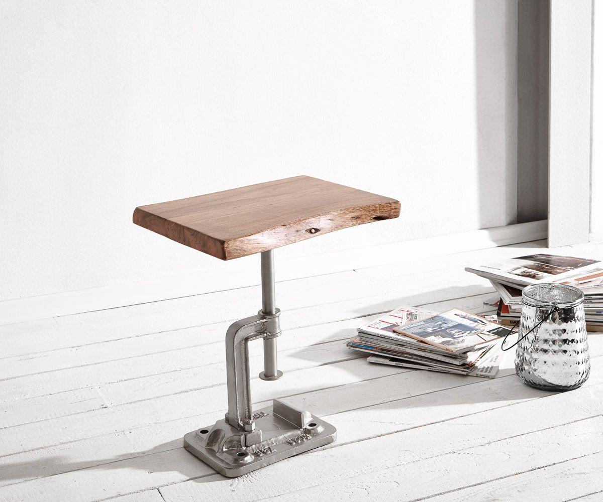 Home Mobel Tische Beistelltische Delife Beistelltisch Live Edge 40x33 Akazie Natur Massiv Silbe Beistelltische Silber Beistelltisch Beistelltisch