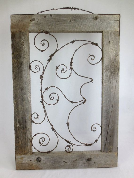 Whimsical Smirking Moon Barbed Wire Spirals And Barn Wood | Barbed ...