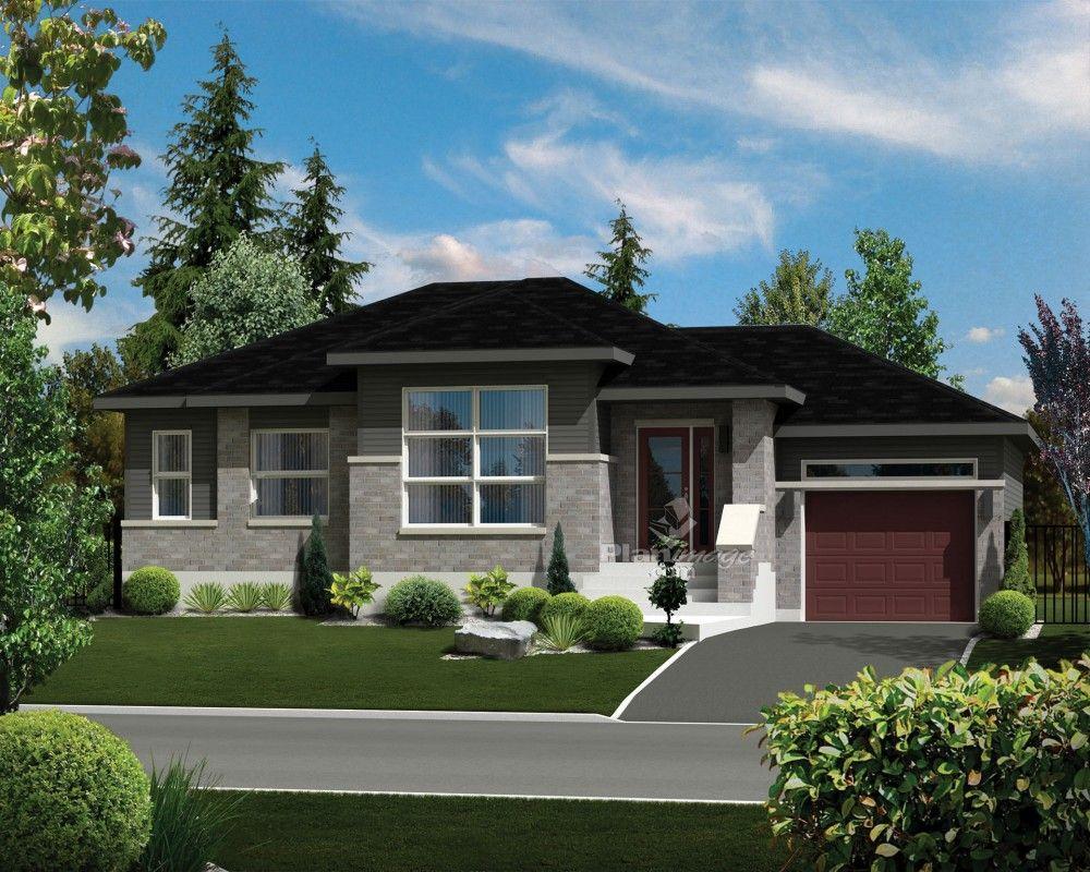 Cette jolie maison de plain-pied de style urbain mesure 48 pieds de largeur sur 30 pieds de ...