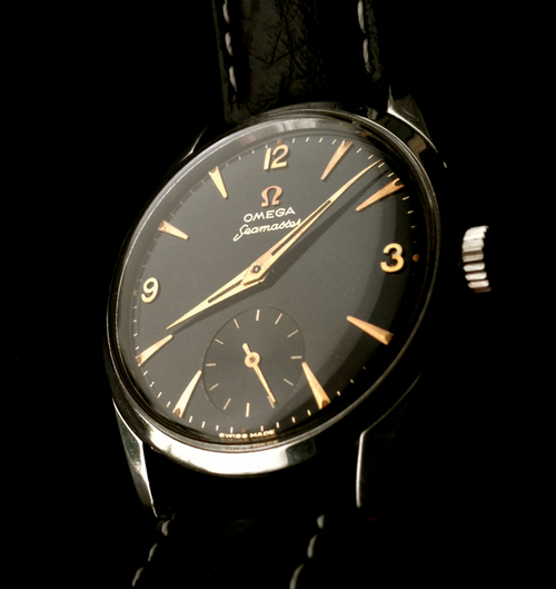 Vintage Omega Seamaster Dress Watch In Stainless Steel With Rose Gold Dial Furniture Circa 1950s