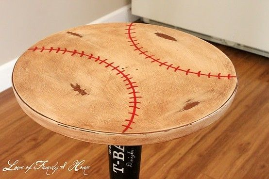 Baseball Bat Nightstand. Already have a table similiar to this I could paint and make like this myself.