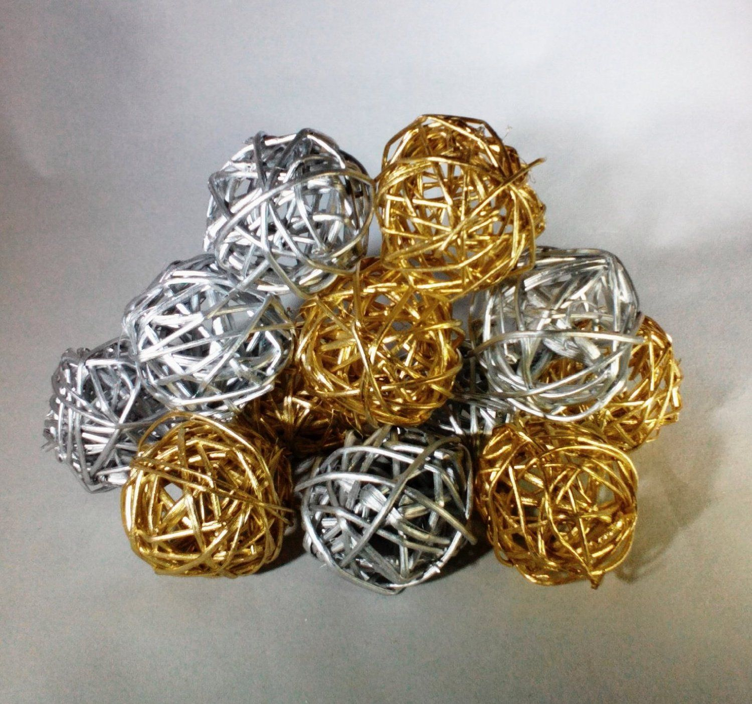 Decorative Bowl Fillers Amazon Decorative Spheres Silver And Gold Rattan Vase