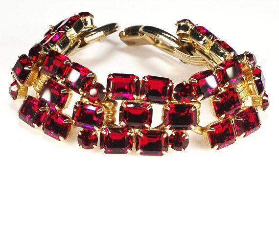 Juliana D E Red Rhinestone Bracelet Jewelry Rhinestones Wedding Bracelets