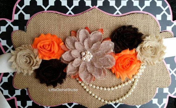 Burlap Fall Sash/ Fall inspired/ Fall photo shoot/ Baby / Mommy to be by LittleOrchidStudio