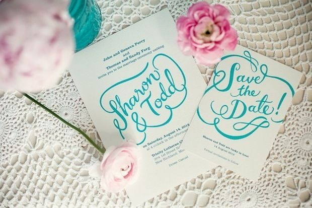 beautiful hand lettered typography on this wedding invitation and save the date