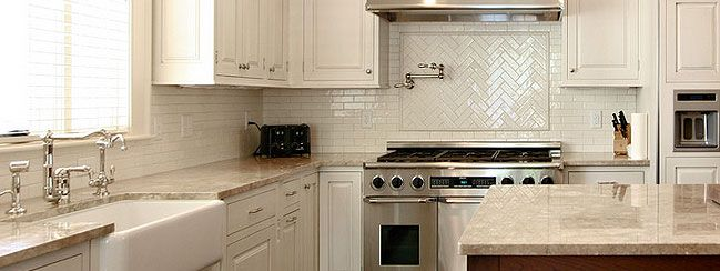 Beautiful Light Beige Countertop Backsplash Tile Idea, Chevron And Subway Tile  Patterns, White Kitchen