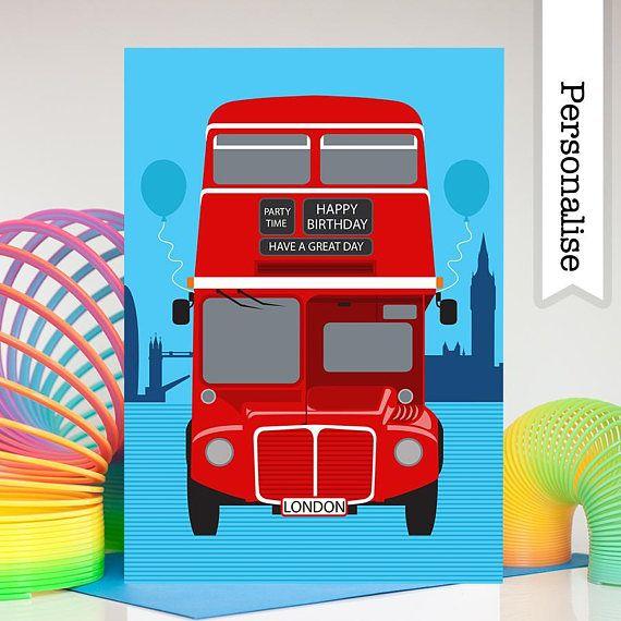 Bus Birthday Card Boys Birthday Card London Birthday Card Etsy Birthday Cards For Boys Birthday Cards Dad Cards