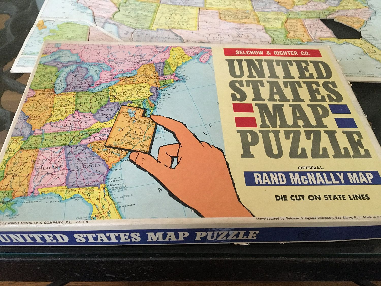 vintage United States Map Puzzle, Selchow & Righter Co ...