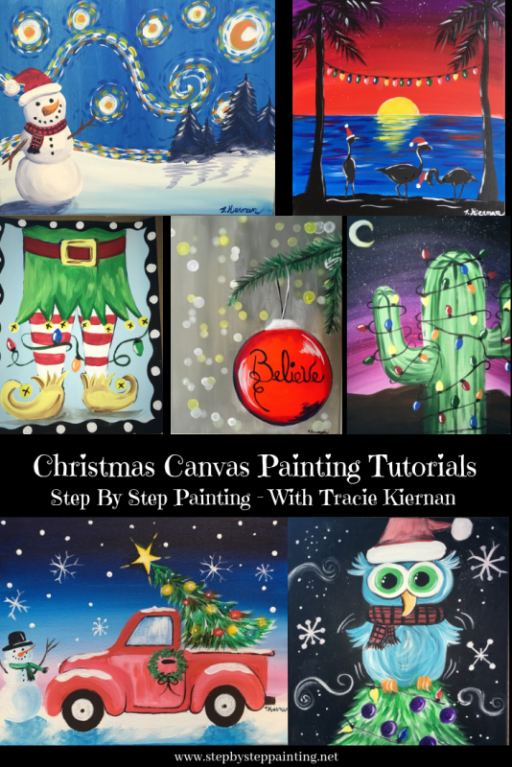 Winter Canvas Paintings – Step By Step Painting