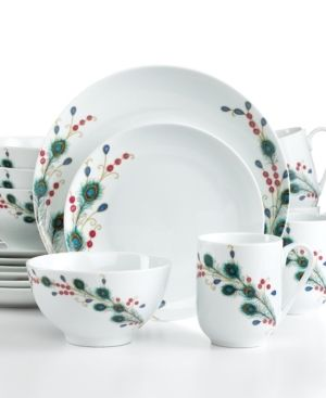 , the Peacock Feathers dinnerware set features glossy modern plates ...