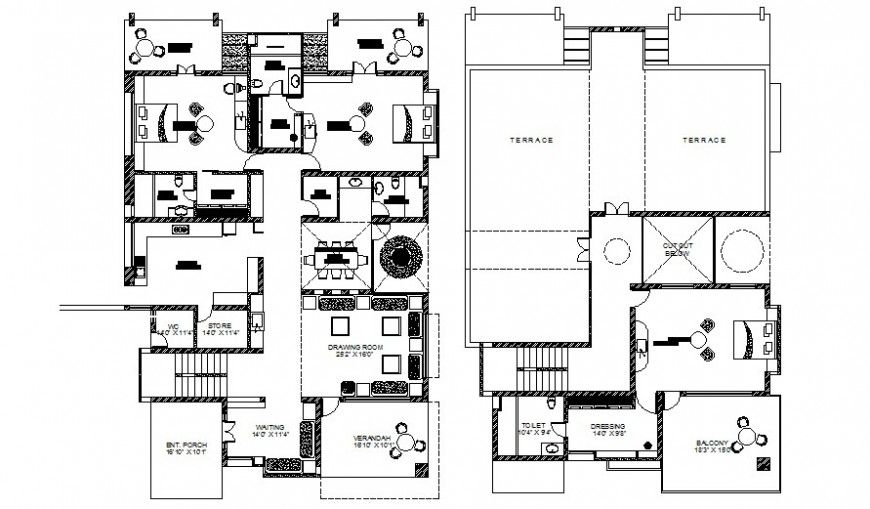 Drawings center line plan of house 2d view autocad