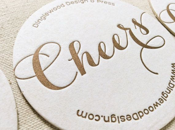 Letterpress Business Card Coasters, Calling Card, Custom - letterpress business card