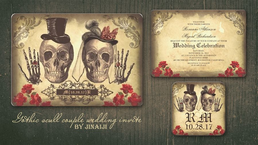 GOTHIC SKULL COUPLE DAY OF DEAD WEDDING INVITATIONS – Halloween Wedding Save the Dates