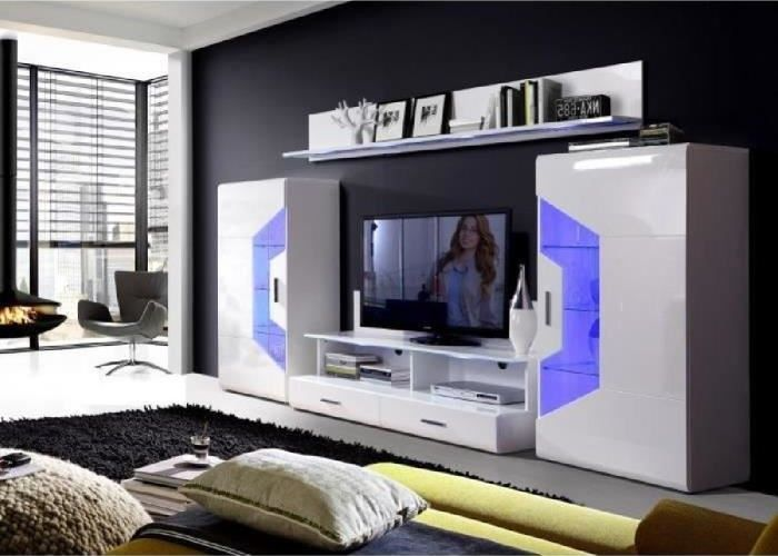 Saphir Meuble Tv Led Contemporain Blanc Brillant Cdiscount Bons