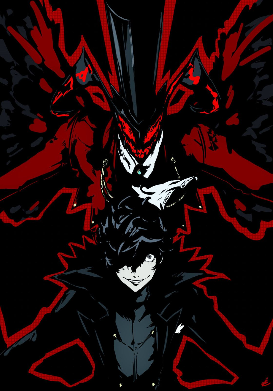 Persona 5 protagonist and Arsene illustration, Rae Ariadne