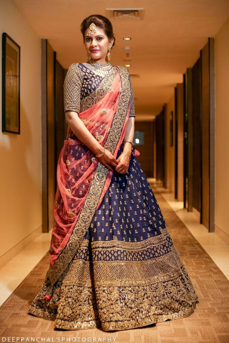 fc8e29d33a Sangeet Lehengas - Navy Blue Lehenga with Copper Big Border and Pink Dupatta    WedMeGood   #wedmegood #indianbride #indianwedding #lehenga