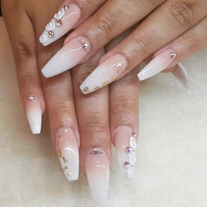 Elegant ombre nails by @nailedbydiana Shop for featured Swarovski ...