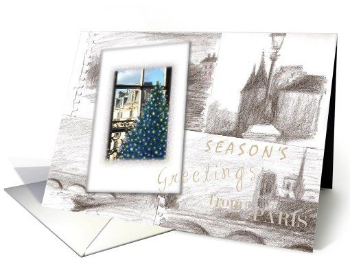Paris Joyeux Noel   | France | Greeting Card Universe by Judith Chen Art