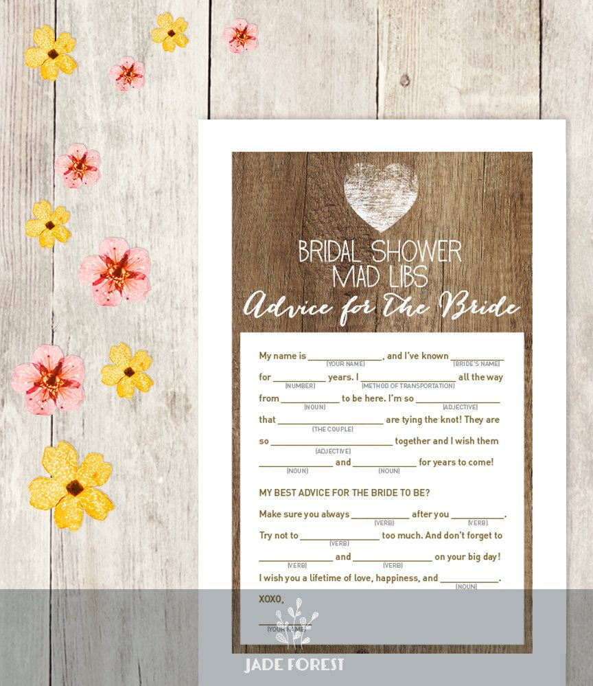 Rustic Bridal Shower Game Is A Great Fun For Guests To Take Part
