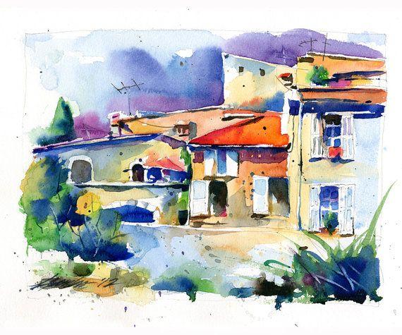 """St Paul de Vence - Southern France, Original Watercolor Painting - 14"""" x 10"""""""